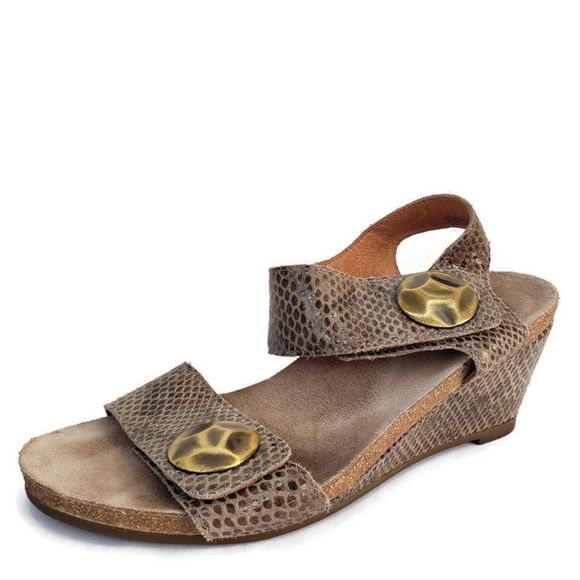 Taos Carousel Snake Print Leather Wedge Sandals